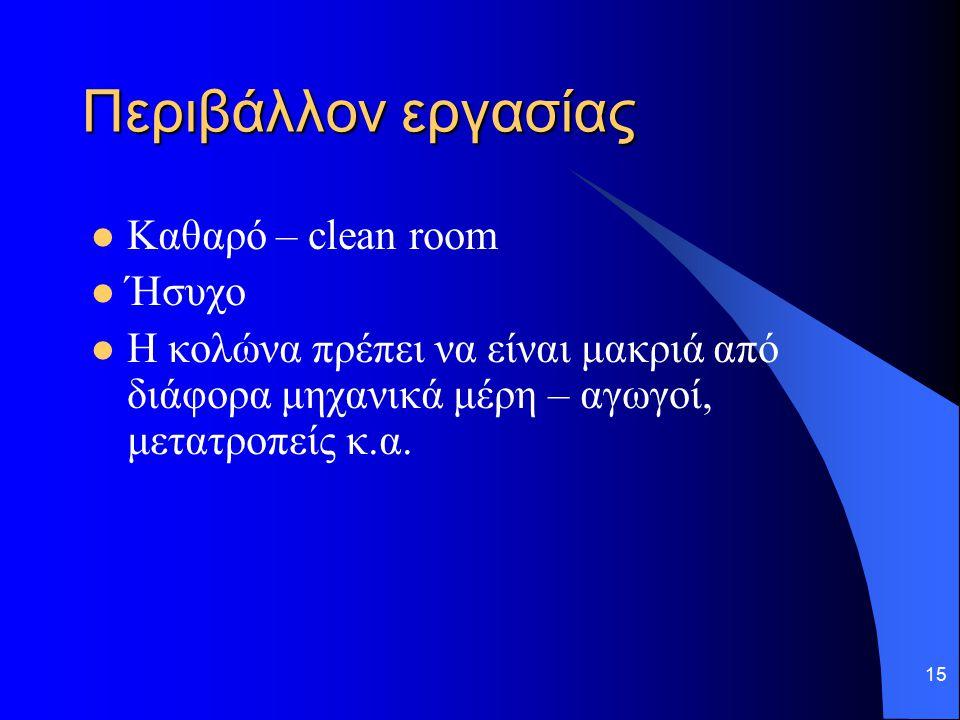 Περιβάλλον εργασίας Καθαρό – clean room Ήσυχο