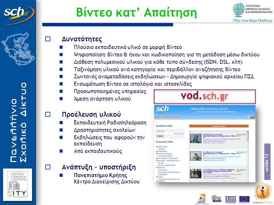 Βίντεο κατ' Απαίτηση vod.sch.gr Δυνατότητες Προέλευση υλικού