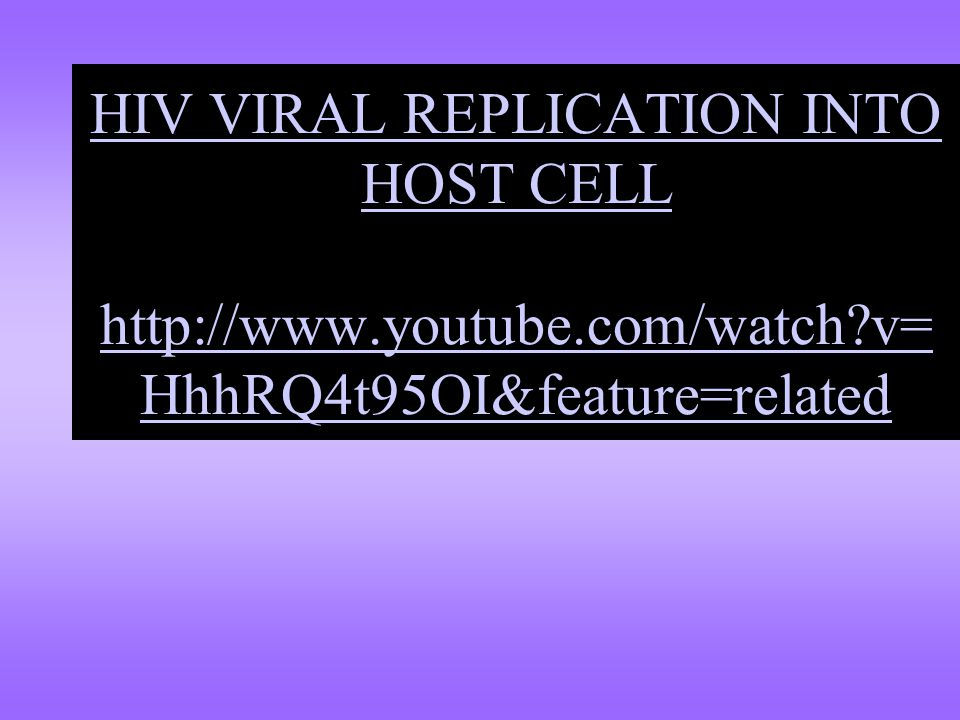 HIV VIRAL REPLICATION INTO HOST CELL http://www. youtube. com/watch