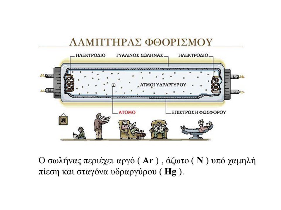 Ο σωλήνας περιέχει αργό ( Ar ) , άζωτο ( Ν ) υπό χαμηλή πίεση και σταγόνα υδραργύρου ( Hg ).