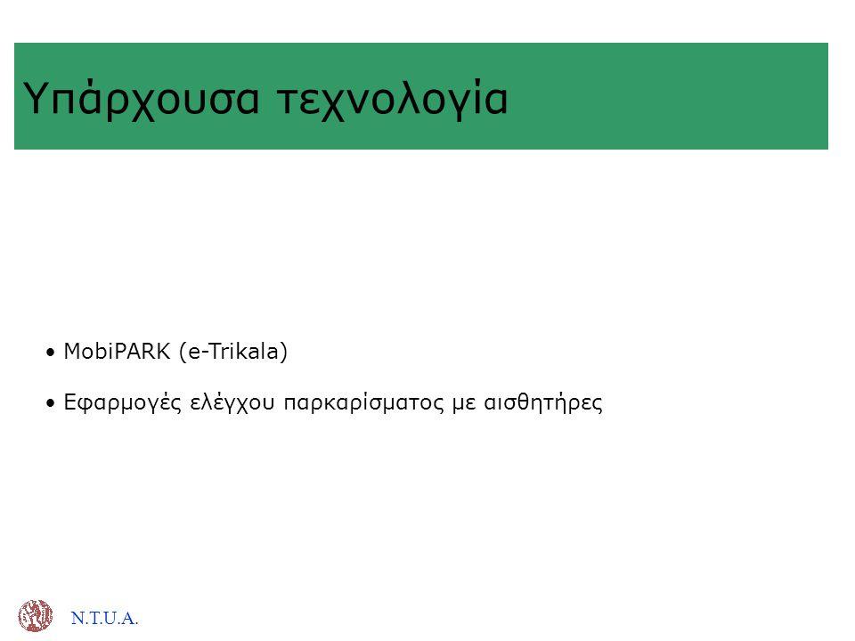 Υπάρχουσα τεχνολογία MobiPARK (e-Trikala)