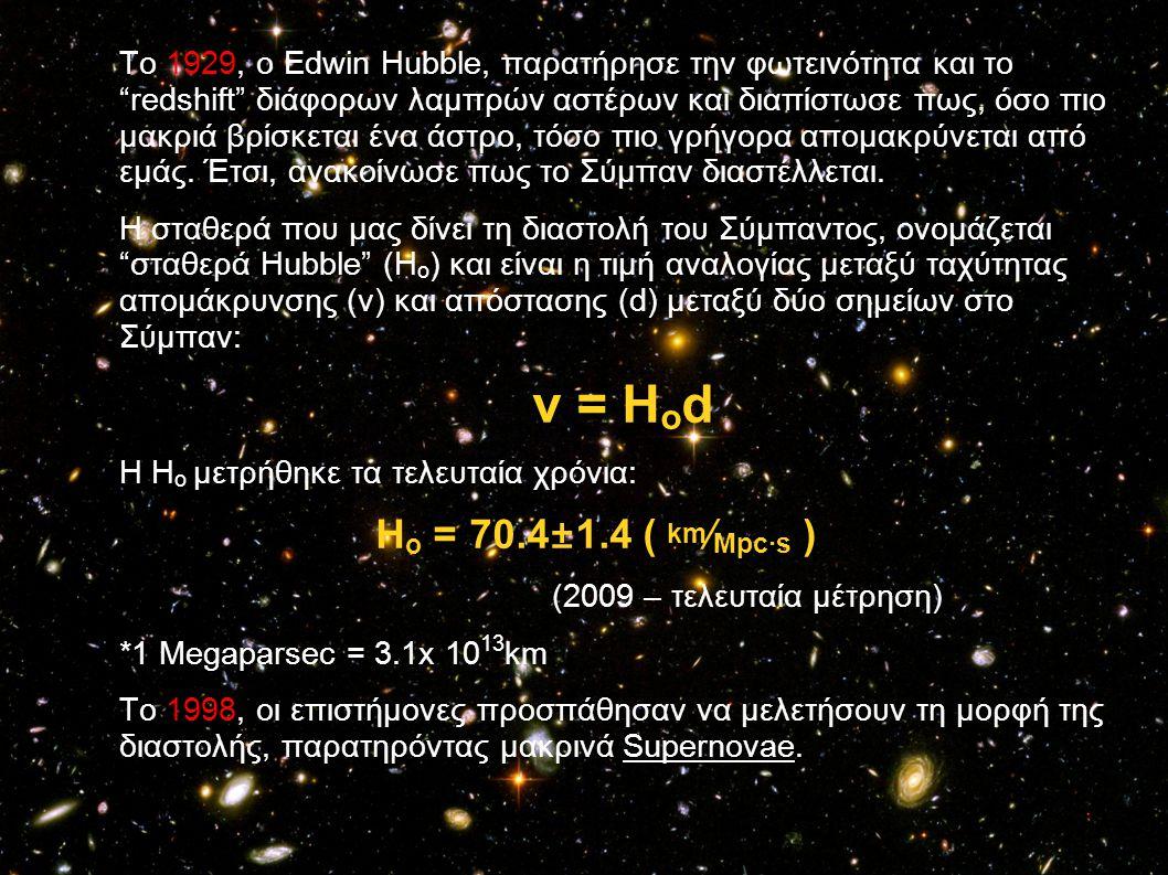 Το 1929, ο Edwin Hubble, παρατήρησε την φωτεινότητα και το redshift διάφορων λαμπρών αστέρων και διαπίστωσε πως, όσο πιο μακριά βρίσκεται ένα άστρο, τόσο πιο γρήγορα απομακρύνεται από εμάς. Έτσι, ανακοίνωσε πως το Σύμπαν διαστέλλεται.