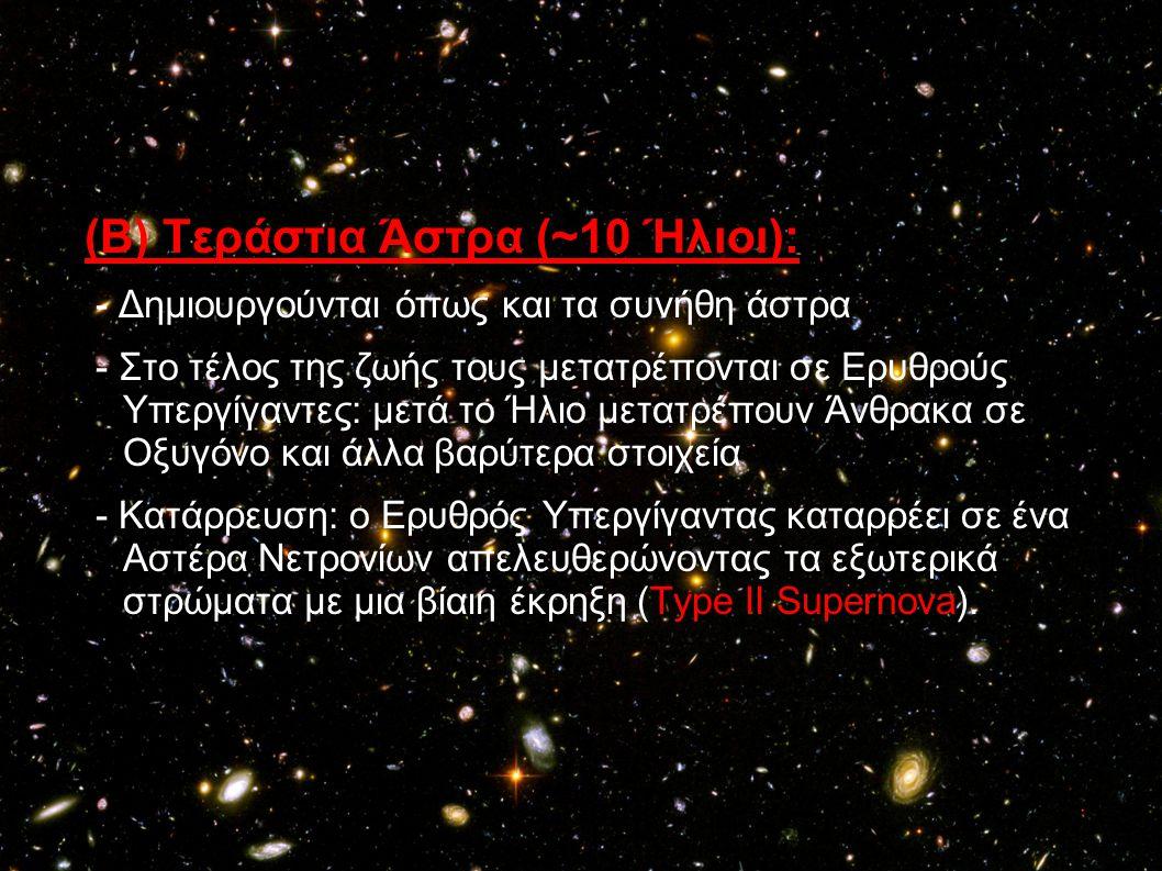 (Β) Τεράστια Άστρα (~10 Ήλιοι):
