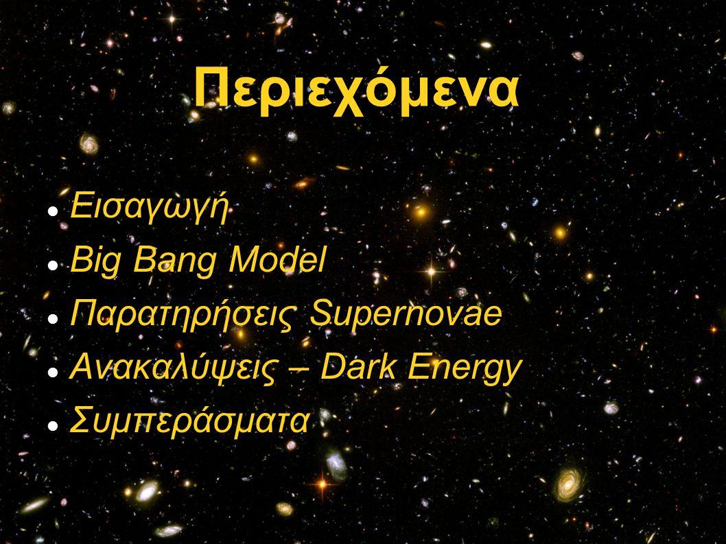 Περιεχόμενα Εισαγωγή Big Bang Model Παρατηρήσεις Supernovae