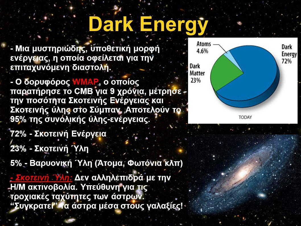 Dark Energy - Μια μυστηριώδης, υποθετική μορφή ενέργειας, η οποία οφείλεται για την επιταχυνόμενη διαστολή.