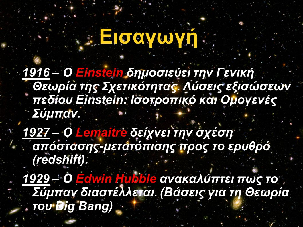 Εισαγωγή 1916 – Ο Einstein δημοσιεύει την Γενική Θεωρία της Σχετικότητας. Λύσεις εξισώσεων πεδίου Einstein: Ισοτροπικό και Ομογενές Σύμπαν.