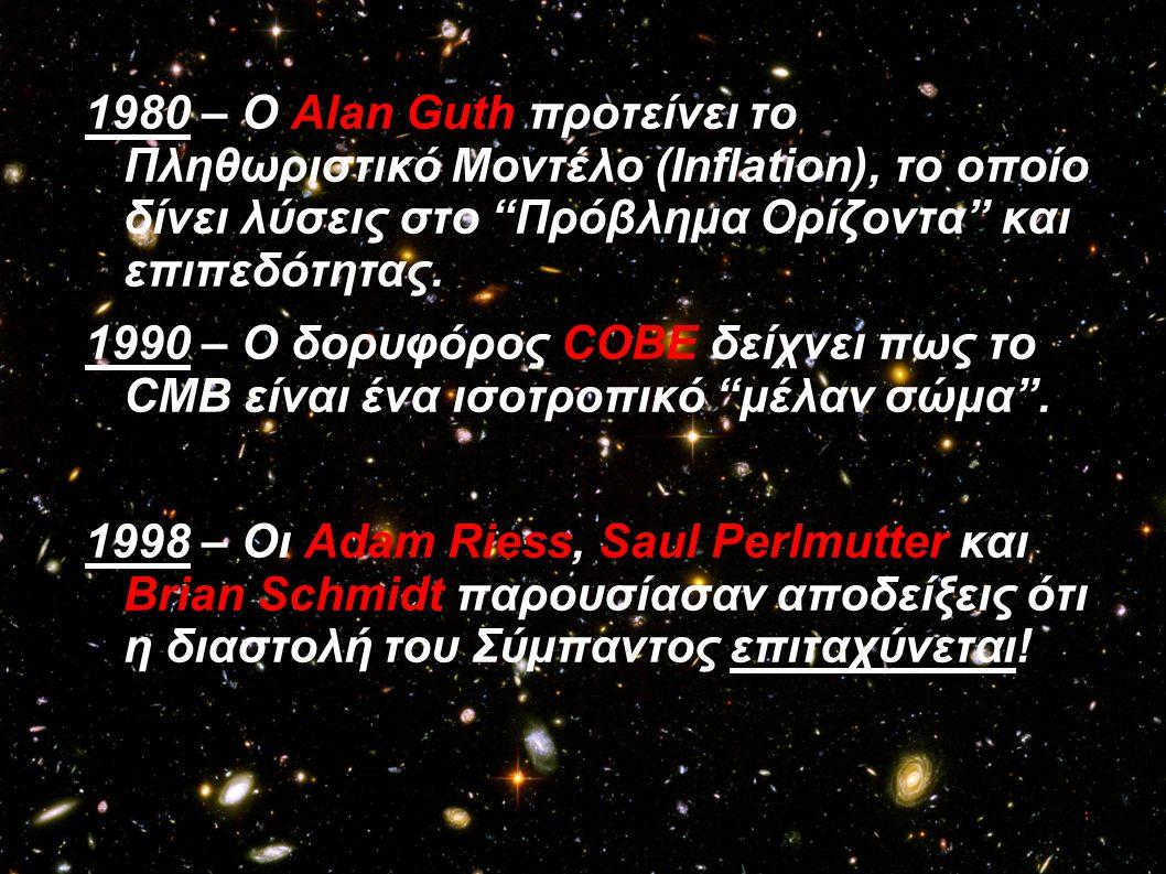 1980 – Ο Alan Guth προτείνει το Πληθωριστικό Μοντέλο (Inflation), το οποίο δίνει λύσεις στο Πρόβλημα Ορίζοντα και επιπεδότητας.