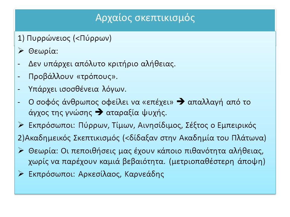 Αρχαίος σκεπτικισμός 1) Πυρρώνειος (<Πύρρων) Θεωρία: