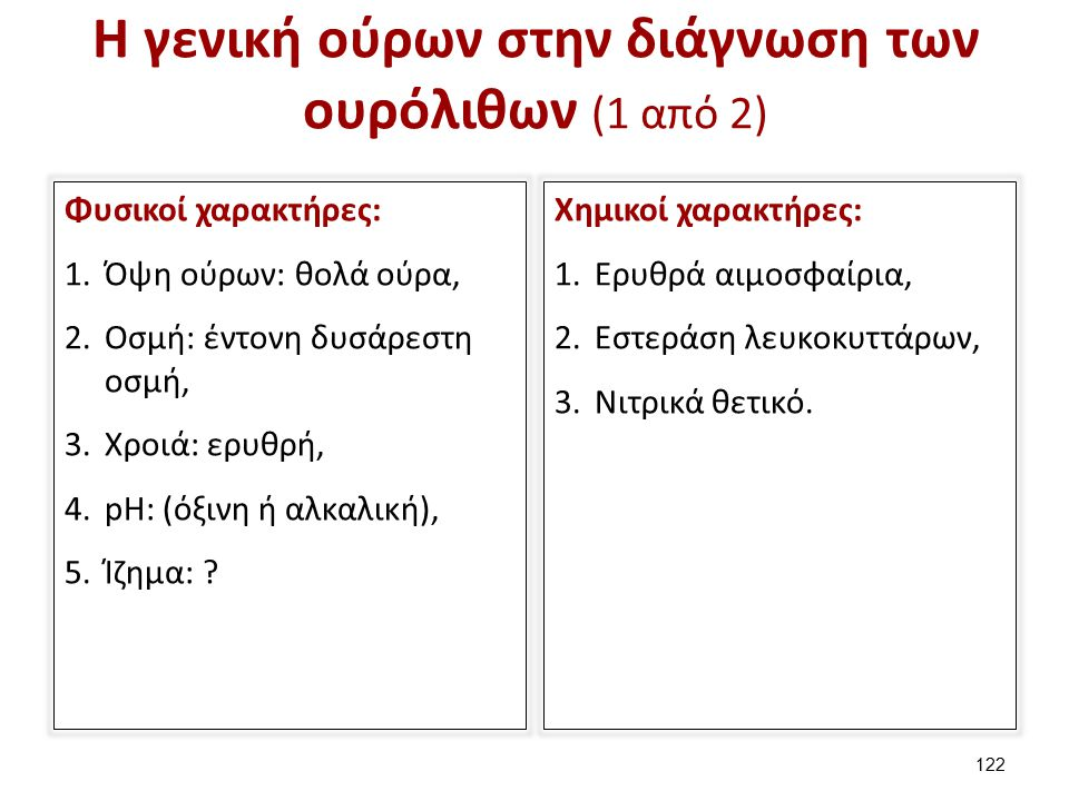 Η γενική ούρων στην διάγνωση των ουρόλιθων (2 από 2)