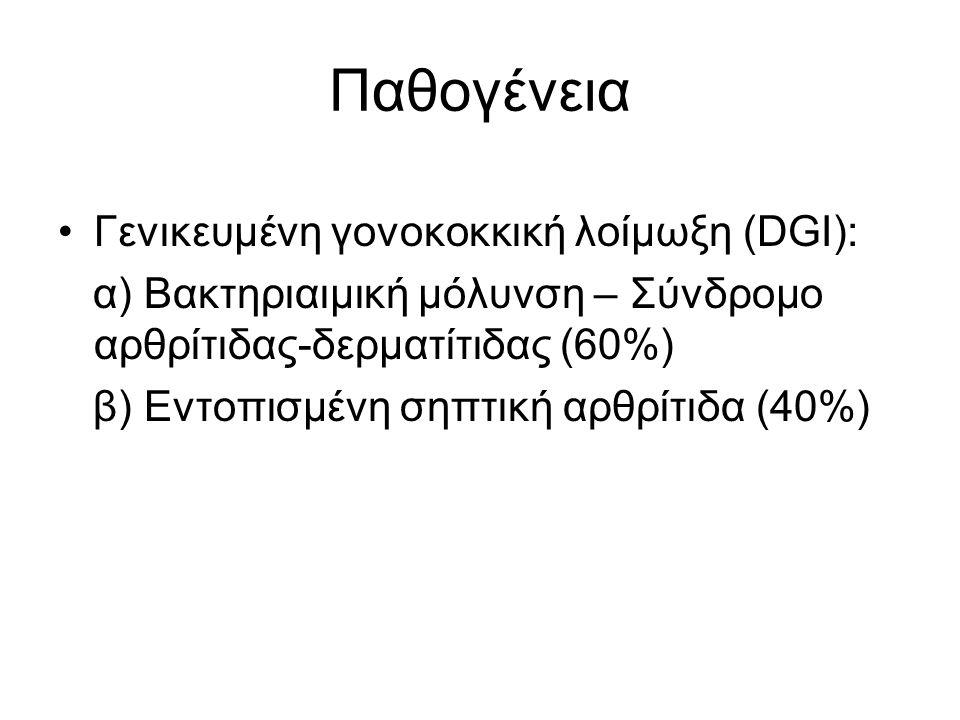 Παθογένεια Γενικευμένη γονοκοκκική λοίμωξη (DGI):