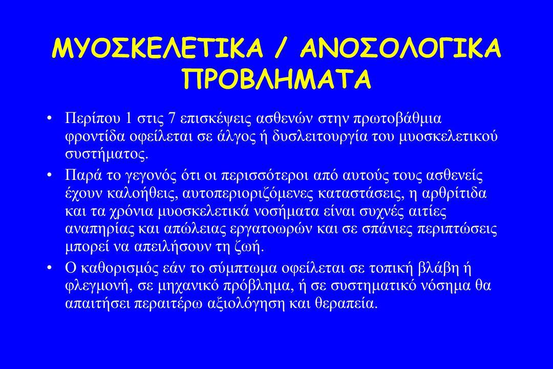 ΜΥΟΣΚΕΛΕΤΙΚΑ / ΑΝΟΣΟΛΟΓΙΚΑ ΠΡΟΒΛΗΜΑΤΑ