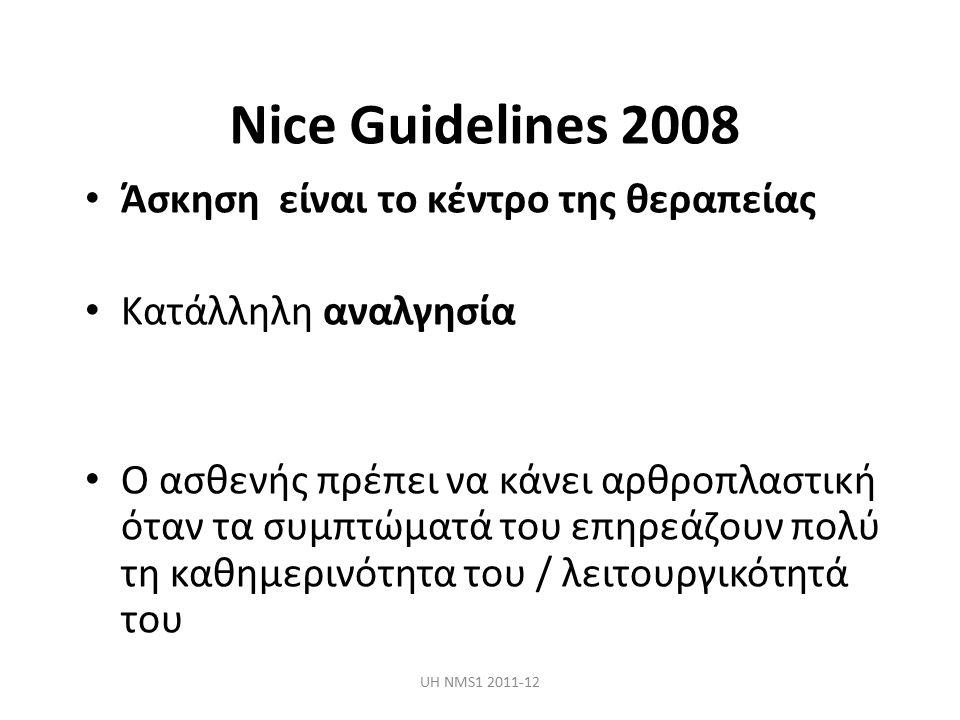 Nice Guidelines 2008 Άσκηση είναι το κέντρο της θεραπείας