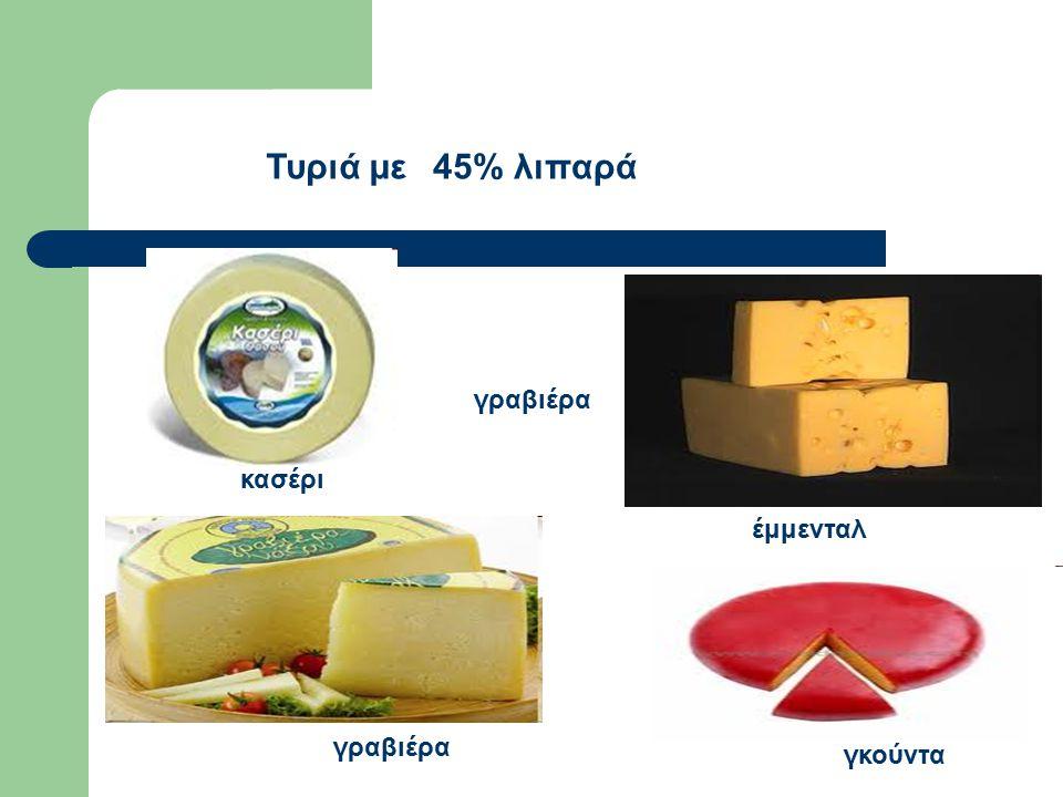 Τυριά με 45% λιπαρά γραβιέρα κασέρι έμμενταλ γραβιέρα γκούντα