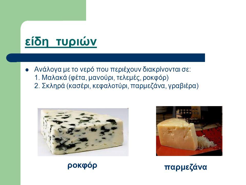 είδη τυριών ροκφόρ παρμεζάνα
