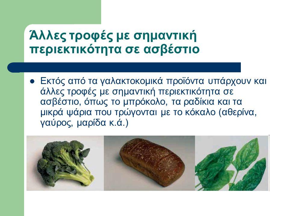 Άλλες τροφές με σημαντική περιεκτικότητα σε ασβέστιο