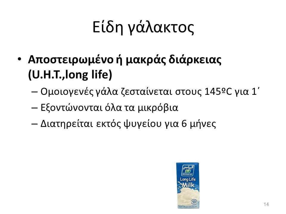 Είδη γάλακτος Αποστειρωμένο ή μακράς διάρκειας (U.H.T.,long life)