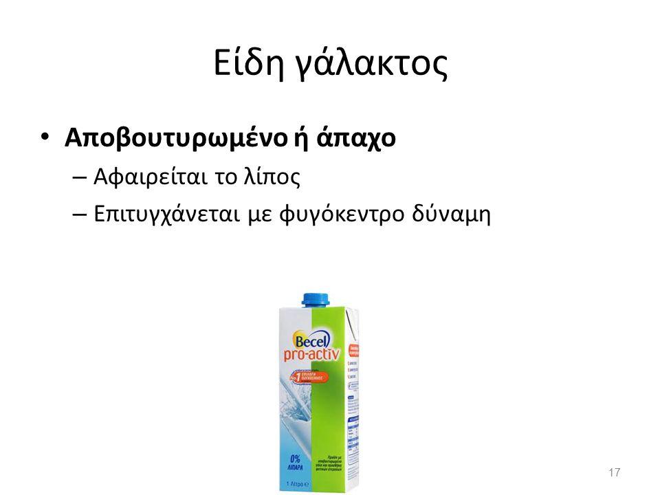 Είδη γάλακτος Αποβουτυρωμένο ή άπαχο Αφαιρείται το λίπος