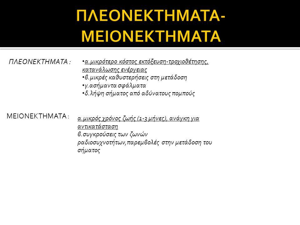ΠΛΕΟΝΕΚΤΗΜΑΤΑ-ΜΕΙΟΝΕΚΤΗΜΑΤΑ