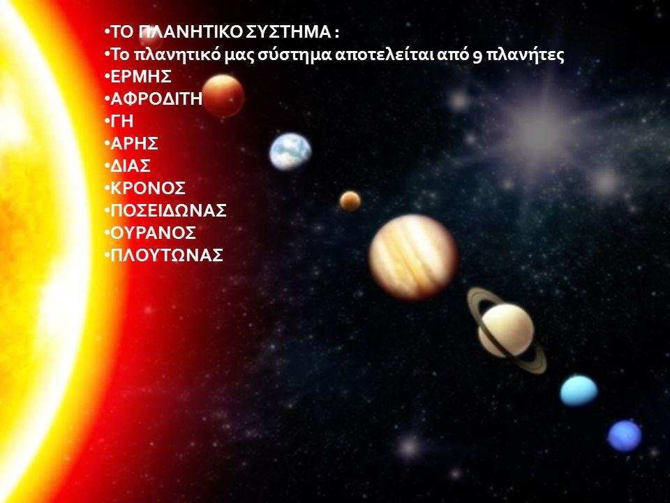 ΤΟ ΠΛΑΝΗΤΙΚΟ ΣΥΣΤΗΜΑ : Το πλανητικό μας σύστημα αποτελείται από 9 πλανήτες. ΕΡΜΗΣ. ΑΦΡΟΔΙΤΗ. ΓΗ.