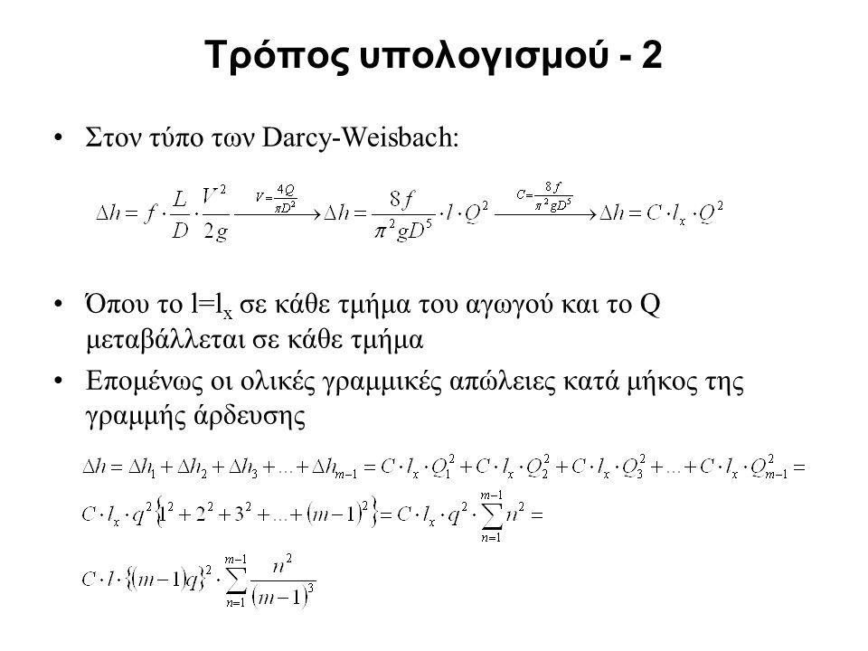 Τρόπος υπολογισμού - 2 Στον τύπο των Darcy-Weisbach: