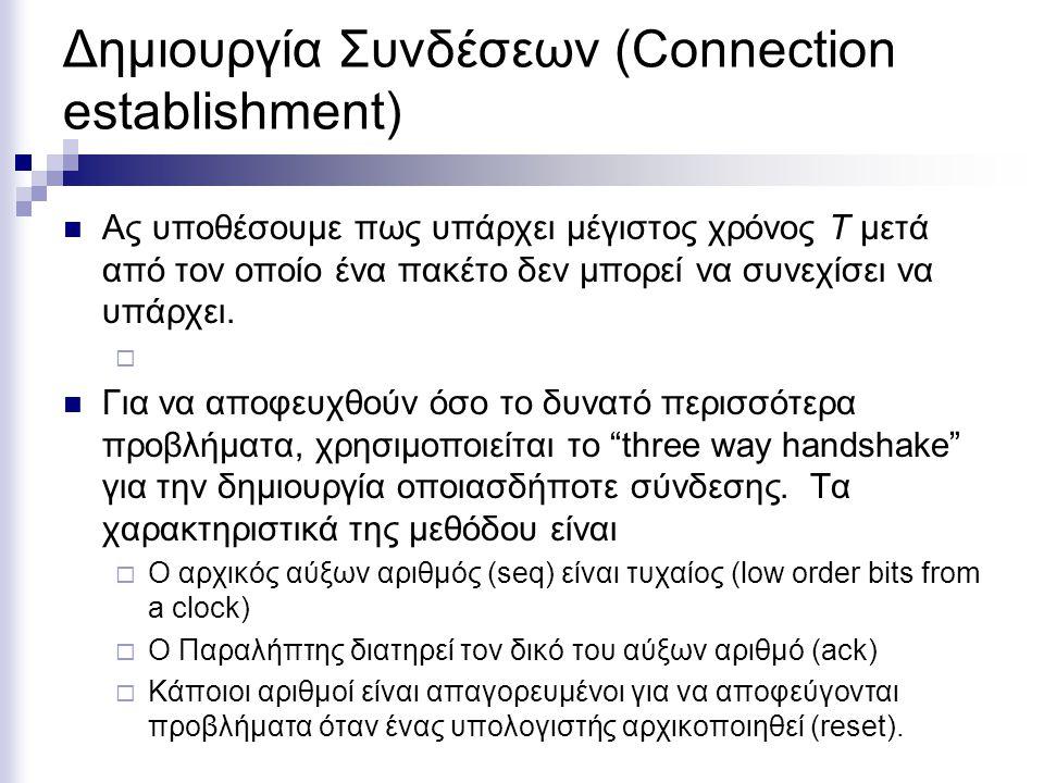 Δημιουργία Συνδέσεων (Connection establishment)