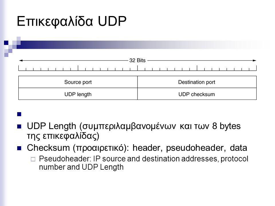 Επικεφαλίδα UDP UDP Length (συμπεριλαμβανομένων και των 8 bytes της επικεφαλίδας) Checksum (προαιρετικό): header, pseudoheader, data.