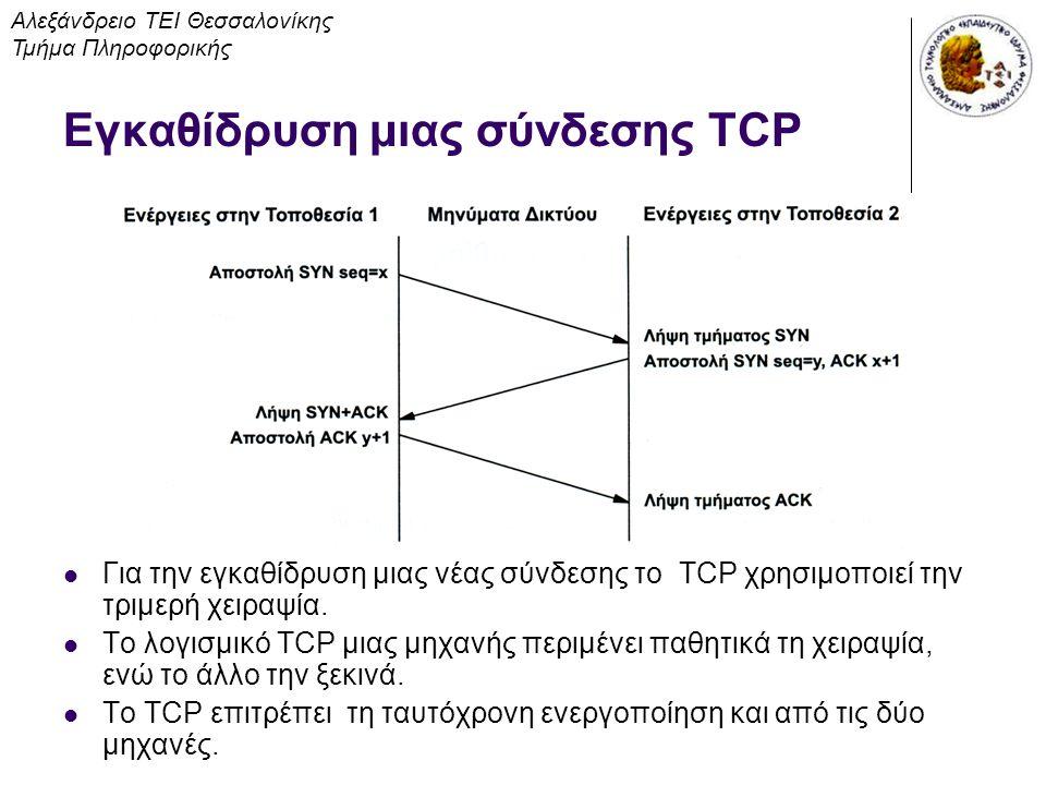 Εγκαθίδρυση μιας σύνδεσης TCP