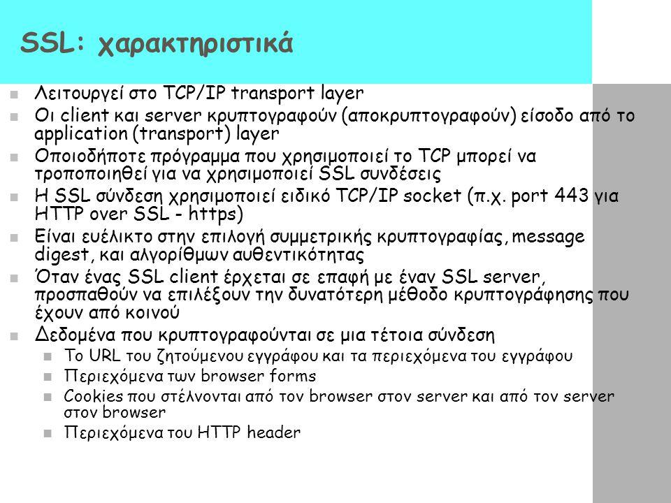 SSL: χαρακτηριστικά Λειτουργεί στο TCP/IP transport layer