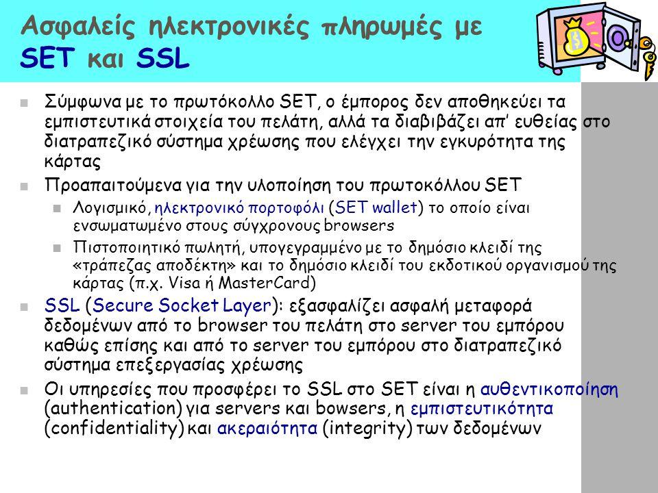 Ασφαλείς ηλεκτρονικές πληρωμές με SET και SSL