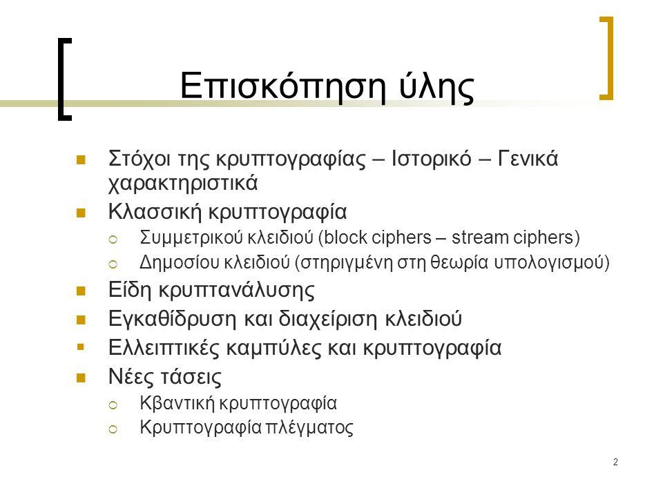Επισκόπηση ύλης Στόχοι της κρυπτογραφίας – Ιστορικό – Γενικά χαρακτηριστικά. Κλασσική κρυπτογραφία.