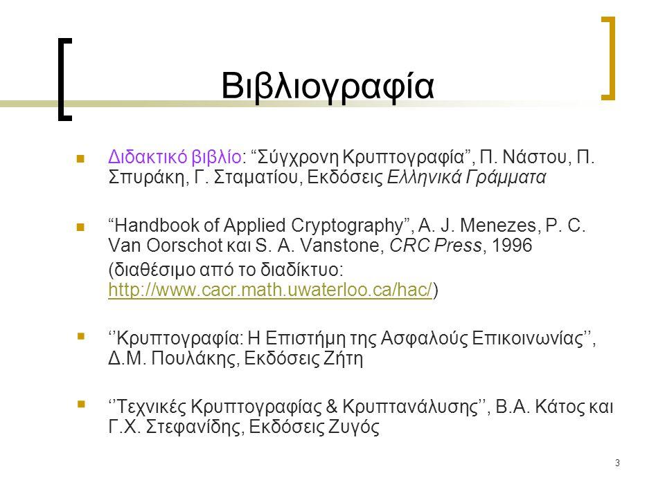 Βιβλιογραφία Διδακτικό βιβλίο: Σύγχρονη Κρυπτογραφία , Π. Νάστου, Π. Σπυράκη, Γ. Σταματίου, Εκδόσεις Ελληνικά Γράμματα.