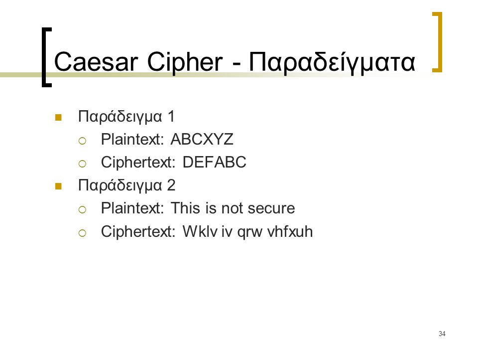 Caesar Cipher - Παραδείγματα