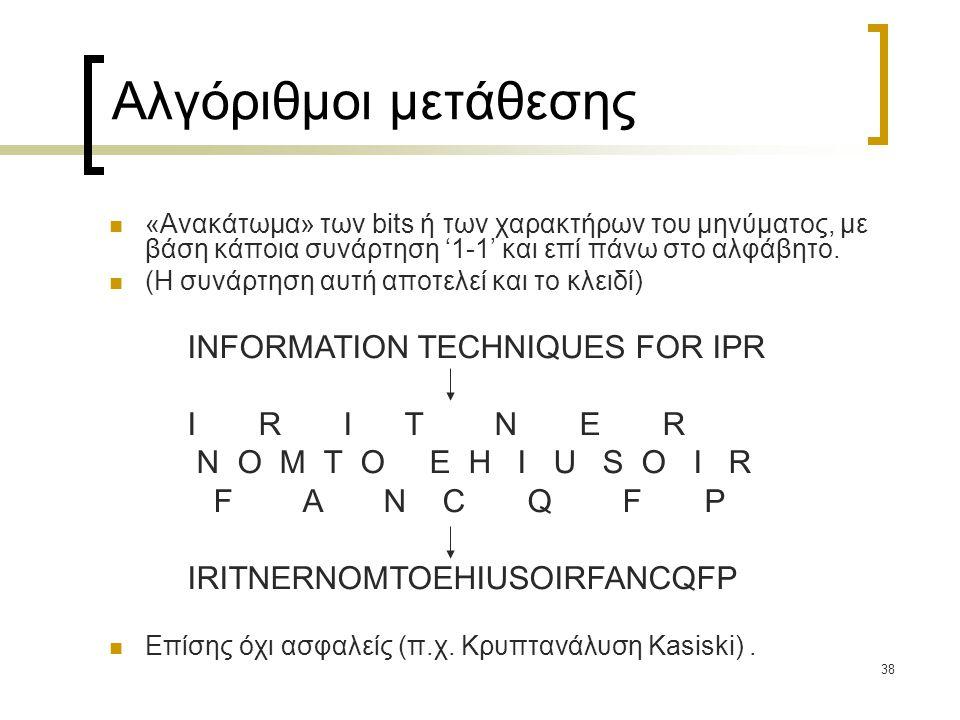 Αλγόριθμοι μετάθεσης INFORMATION TECHNIQUES FOR IPR I R I T N E R