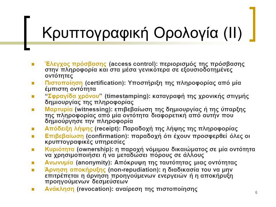Κρυπτογραφική Ορολογία (II)