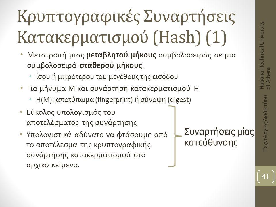 Κρυπτογραφικές Συναρτήσεις Κατακερματισμού (Hash) (1)