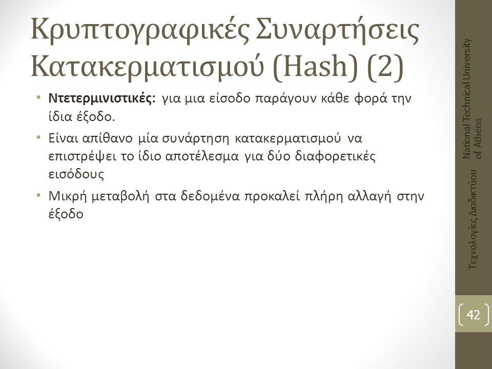 Κρυπτογραφικές Συναρτήσεις Κατακερματισμού (Hash) (2)