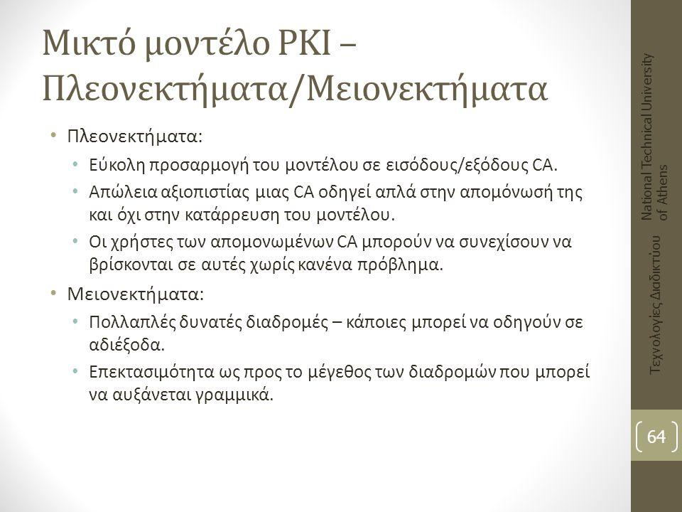 Μικτό μοντέλο PKI – Πλεονεκτήματα/Μειονεκτήματα