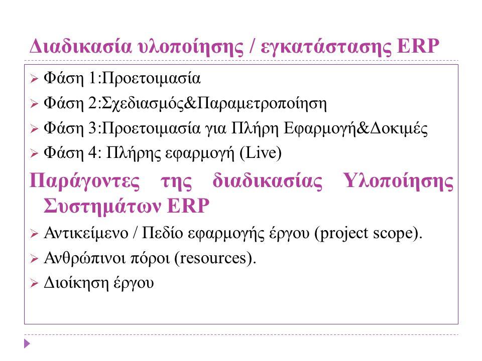 Διαδικασία υλοποίησης / εγκατάστασης ERP