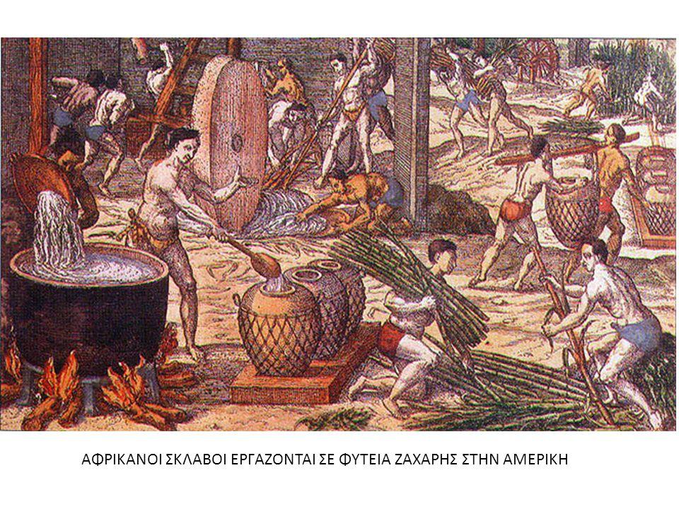 ΑΦΡΙΚΑΝΟΙ ΣΚΛΑΒΟΙ ΕΡΓΑΖΟΝΤΑΙ ΣΕ ΦΥΤΕΙΑ ΖΑΧΑΡΗΣ ΣΤΗΝ ΑΜΕΡΙΚΗ