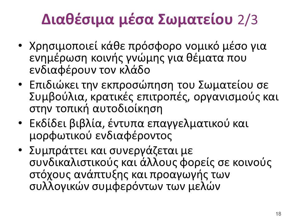 Διαθέσιμα μέσα Σωματείου 3/3