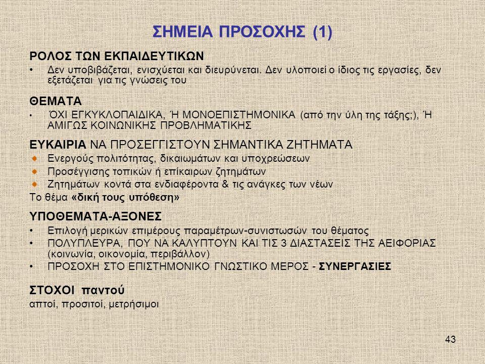 ΣΗΜΕΙΑ ΠΡΟΣΟΧΗΣ (1) ΡΟΛΟΣ ΤΩΝ ΕΚΠΑΙΔΕΥΤΙΚΩΝ ΘΕΜΑΤΑ