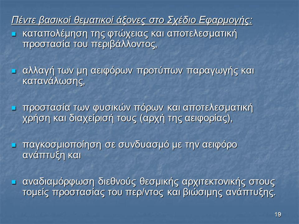 Πέντε βασικοί θεματικοί άξονες στο Σχέδιο Εφαρμογής: