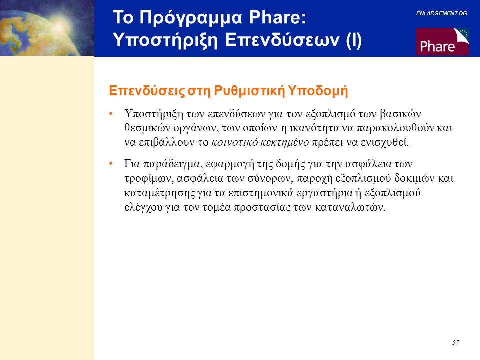 Το Πρόγραμμα Phare: Υποστήριξη Επενδύσεων (I)