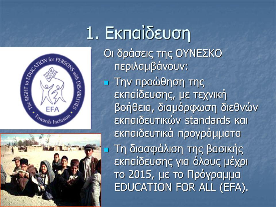 1. Εκπαίδευση Οι δράσεις της ΟΥΝΕΣΚΟ περιλαμβάνουν: