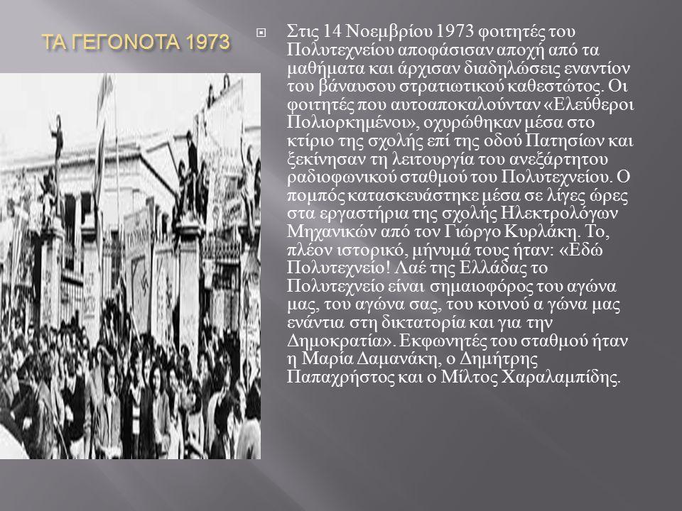 ΤΑ ΓΕΓΟΝΟΤΑ 1973
