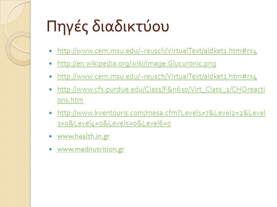 Πηγές διαδικτύου http://www.cem.msu.edu/~reusch/VirtualText/aldket1.htm#rx4. http://en.wikipedia.org/wiki/Image:Glucuronic.png.