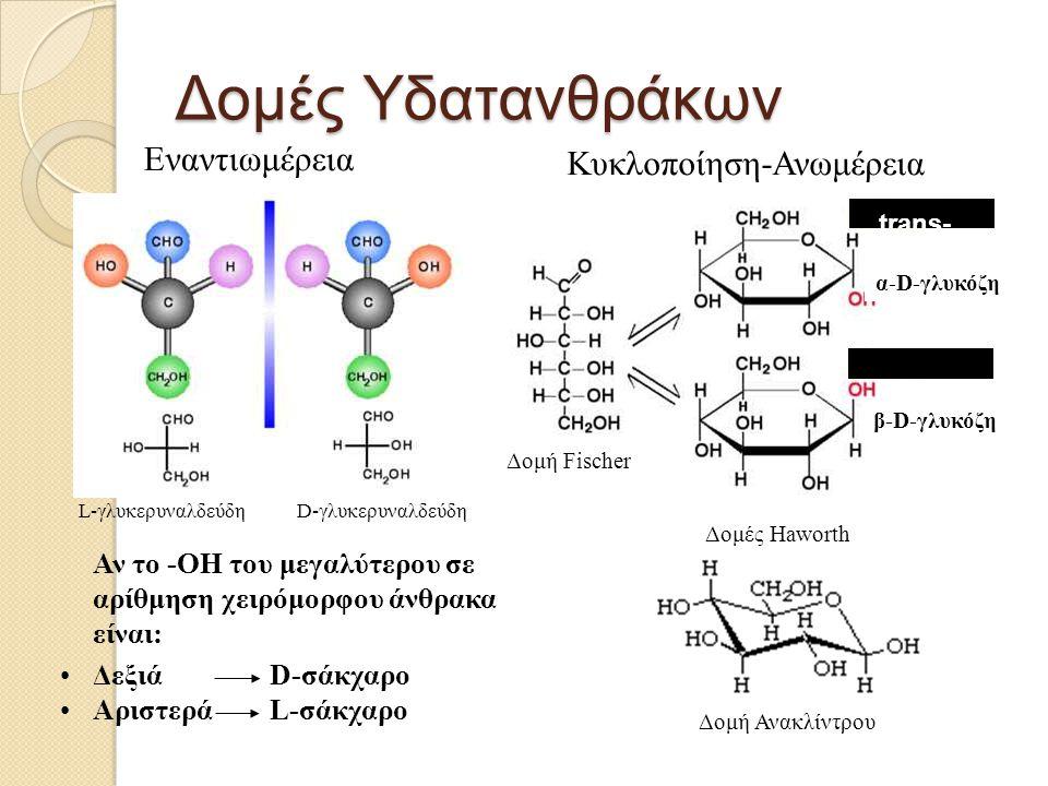 Δομές Υδατανθράκων Εναντιωμέρεια Κυκλοποίηση-Ανωμέρεια