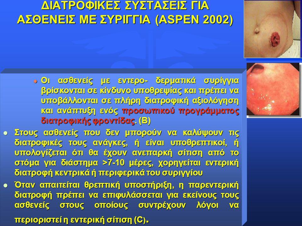 ΔΙΑΤΡΟΦΙΚΕΣ ΣΥΣΤΑΣΕΙΣ ΓΙΑ ΑΣΘΕΝΕΙΣ ΜΕ ΣΥΡΙΓΓΙΑ (ΑSPEN 2002)