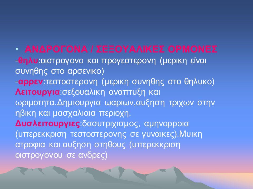 ΑΝΔΡΟΓΟΝΑ / ΣΕΞΟΥΑΛΙΚΕΣ ΟΡΜΟΝΕΣ
