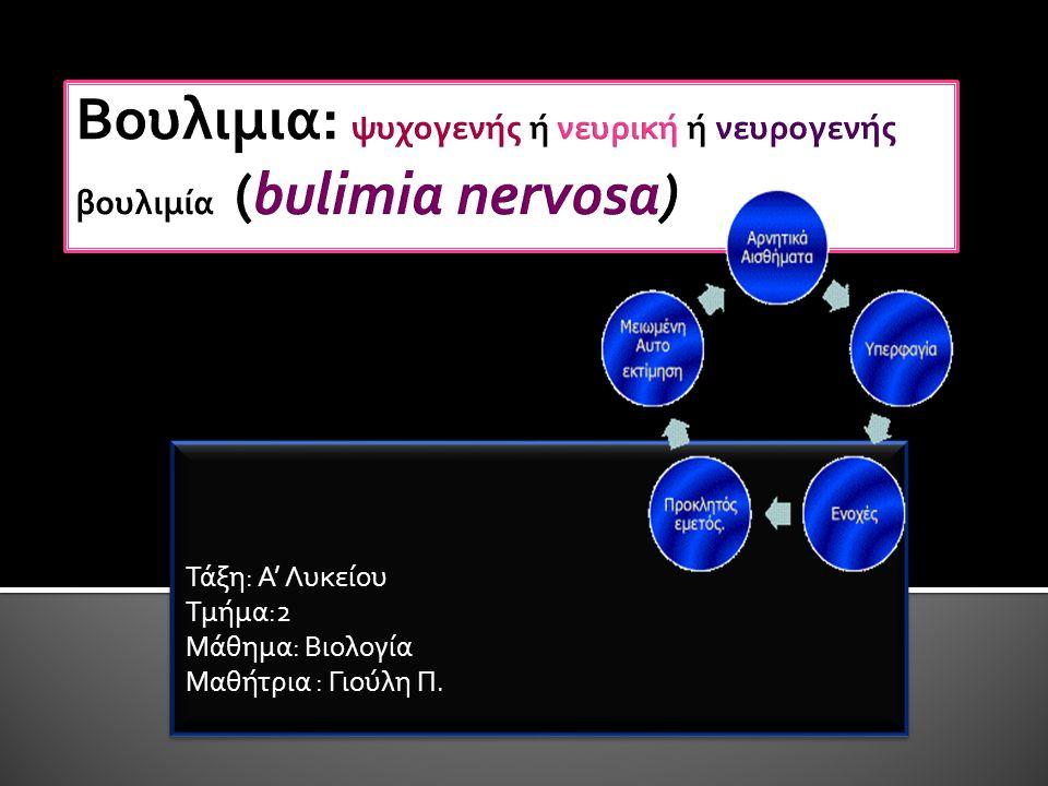 Βουλιμια: ψυχογενής ή νευρική ή νευρογενής βουλιμία (bulimia nervosa)